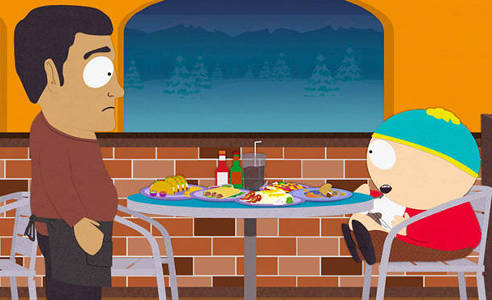Cartman and restaurant owner
