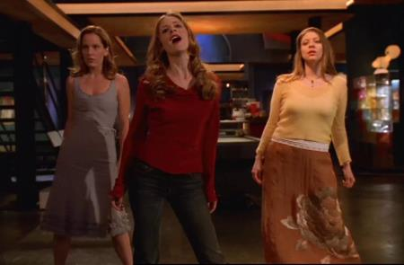 Buffy, Anya and Tara singing and dancing